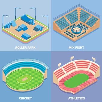 Ensemble isométrique plat de vecteur de stade de sport