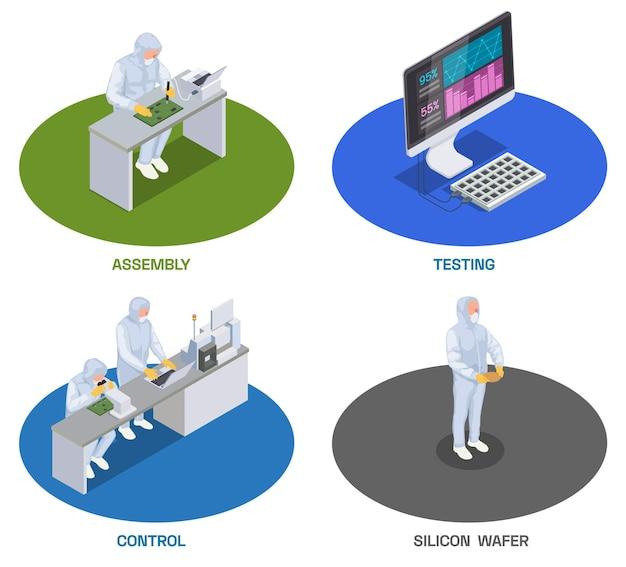 Ensemble isométrique de production de puces à semi-conducteurs de quatre compositions isolées avec des travailleurs et des ordinateurs