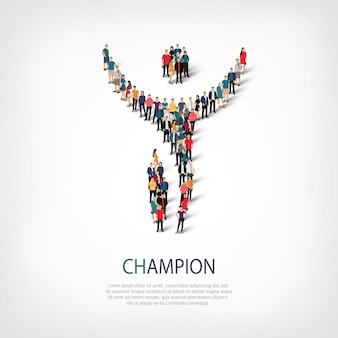Ensemble isométrique de styles, champion, illustration de concept infographie web d'un carré bondé. groupe de points de foule formant une forme prédéterminée. des gens créatifs.