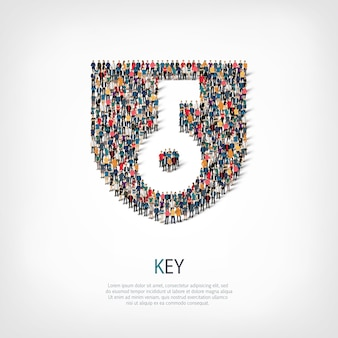 Ensemble isométrique de styles, clé, illustration de concept infographie web d'un carré bondé. groupe de points de foule formant une forme prédéterminée. des gens créatifs.
