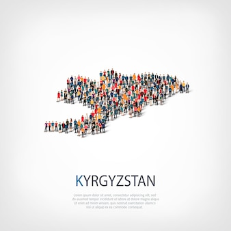 Ensemble isométrique de styles, personnes, carte du kirghizistan, pays, concept d'infographie web d'espace encombré. groupe de points de foule formant une forme prédéterminée. des gens créatifs.