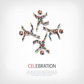 Ensemble isométrique de styles, signe de célébration, illustration de concept infographie web d'un carré bondé. groupe de points de foule formant une forme prédéterminée. des gens créatifs.