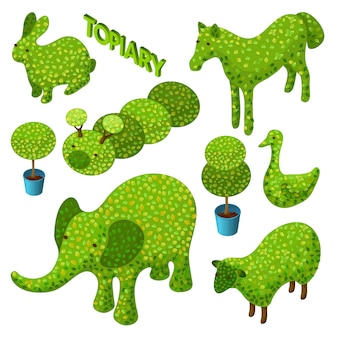 Ensemble isométrique de topiaire sous forme d'animaux.