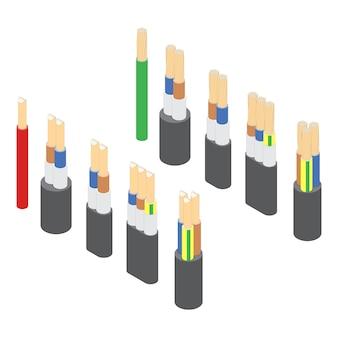 Ensemble isométrique de vecteur de fils de câbles électriques blindés sur fond blanc