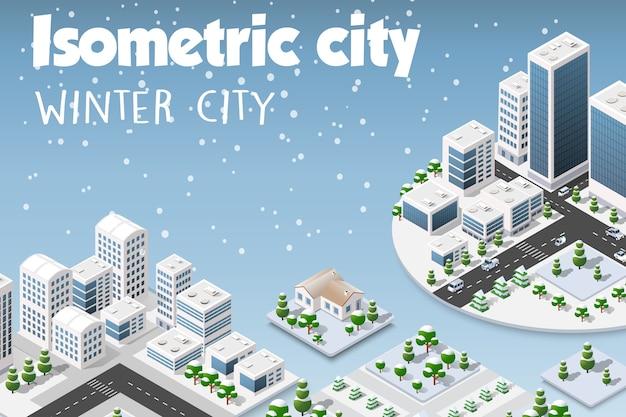 Ensemble isométrique de la ville moderne