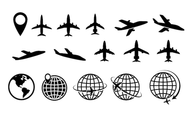 Ensemble d'itinéraire d'avion ou de chemin de ligne d'avion avec vecteur eps de trait modifiable de ligne de tiret