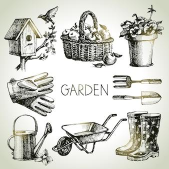 Ensemble de jardinage de croquis. éléments de conception dessinés à la main