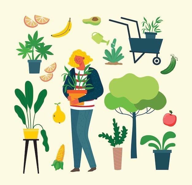 Ensemble de jardinage d'été de personnes d'illustrations vectorielles à plat dessinées à la main de personnes faisant des travaux de jardin...