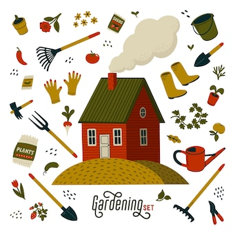 Ensemble de jardinage. maison de ferme rouge et différents types d'outils pour le jardinage et l'aménagement paysager.
