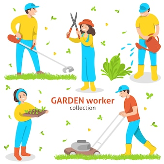 Ensemble de jardiniers avec outils et équipement de jardin