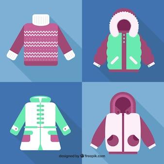 Ensemble de jersey et manteaux design plat