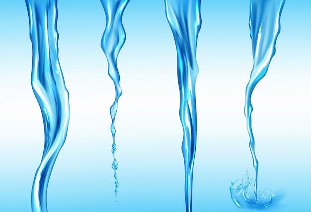 Ensemble de jets d'eau, mouvement d'écoulement isolé du liquide