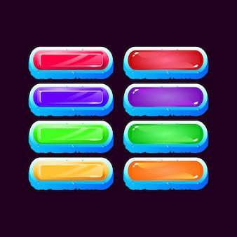 Ensemble de jeu arrondi de cube de glace diamant et bouton coloré de gelée