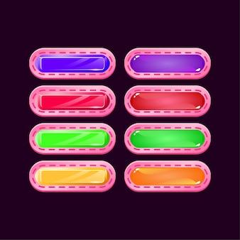 Ensemble de jeu arrondi occasionnel diamant rose et bouton coloré de gelée