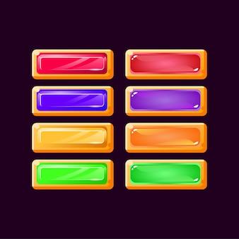 Ensemble de jeu bouton coloré de diamant jaune occasionnel et gelée
