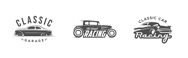 Ensemble de jeu de logo de voiture vintage