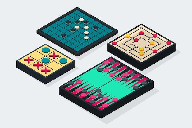Ensemble de jeu de société illustré