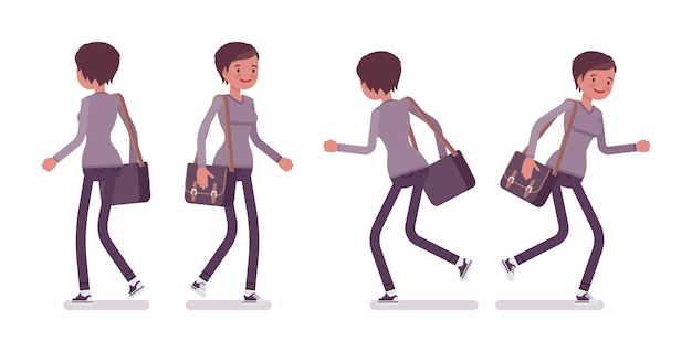 Ensemble, de, jeune femme, dans, marche, et, runnig, pose