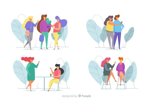 Ensemble de jeune femme, passer du temps ensemble