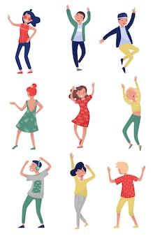Ensemble de jeunes en action de danse. les étudiants s'amusent à la fête. filles et gars en tenue élégante. mode de vie actif