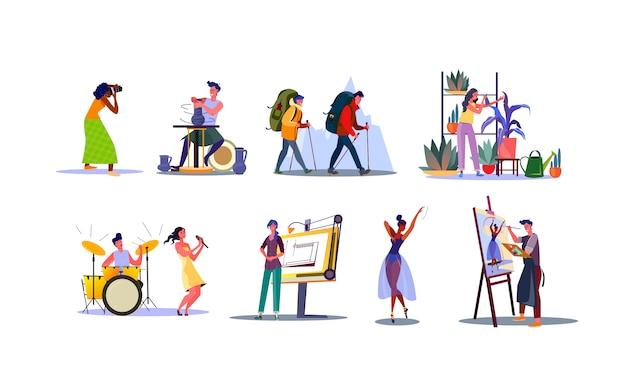 Ensemble de jeunes avec diverses professions