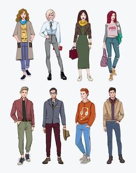 Ensemble de jeunes élégants dessinés à la main dans la rue. collection mode, jeunesse branchée. illustration colorée.