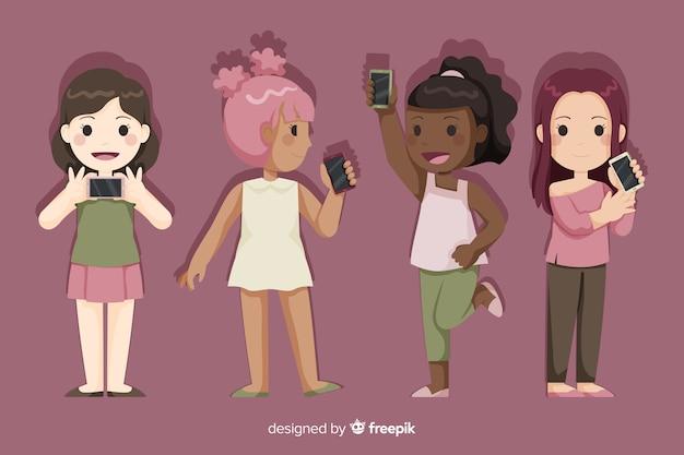 Ensemble de jeunes filles tenant des smartphones