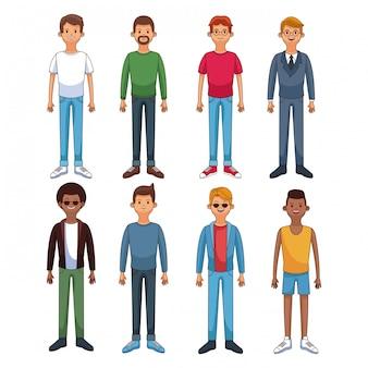 Ensemble de jeunes hommes en icônes rondes