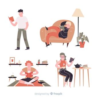 Ensemble de jeunes lisant