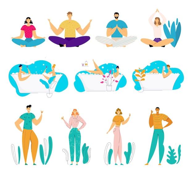 Ensemble de jeunes personnages masculins et féminins faisant du yoga asana méditant sur la nature