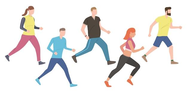 Ensemble de joggeurs extérieurs