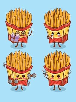 Ensemble de jolie pomme de terre frite toute l'expression. dessin animé