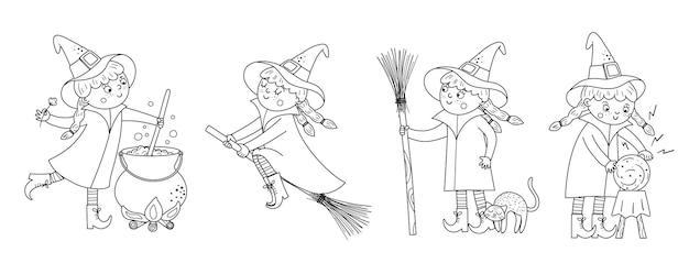 Ensemble de jolies sorcières vectorielles en noir et blanc. collection d'icônes de personnages d'halloween. amusant automne tous les saints eve à colorier avec une fille sur un balai, avec chaudron, chat, boule magique.