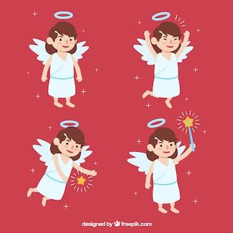 Ensemble de jolis anges avec baguette et étoiles