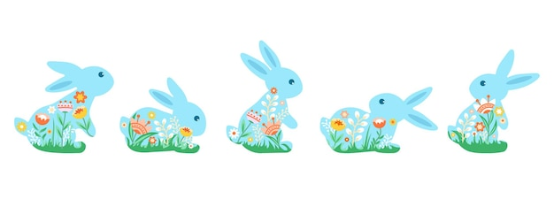 Un ensemble de jolis lapins colorés décorés de fleurs