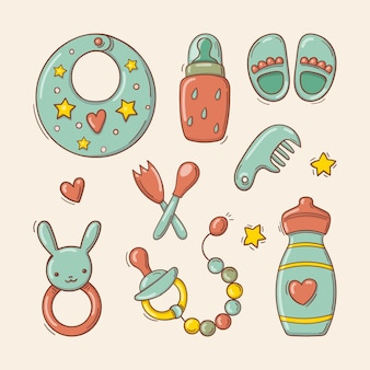 Ensemble de jouets et accessoires dessinés à la main pour bébé.