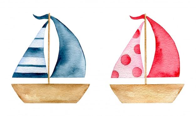 Ensemble de jouets de bateau en papier d'été aquarelle dessin animé isolé