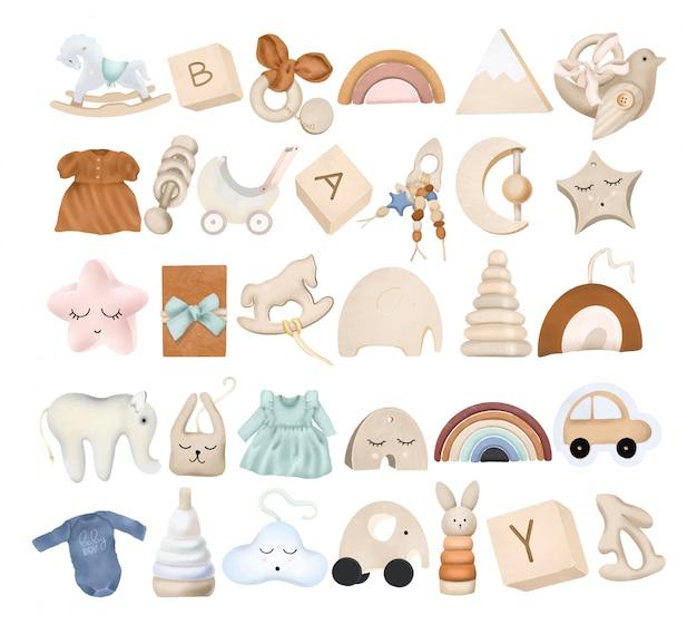 Ensemble de jouets en bois, éléments isolés.