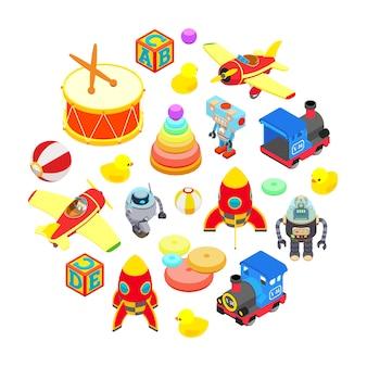 Ensemble de jouets isométriques isolés sur fond blanc