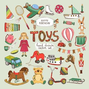 Ensemble de jouets joyeux anniversaire: cheval éléphant ballon moulinet