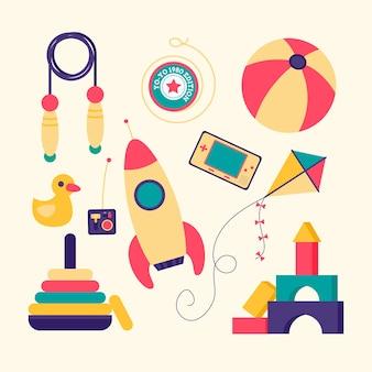 Ensemble de jouets de noël design plat