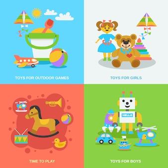 Ensemble de jouets plats