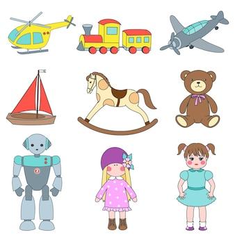Ensemble de jouets pour enfants hélicoptère avion train ours en peluche poupées et cheval de bois