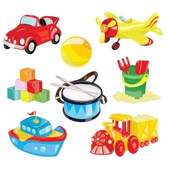 Ensemble de jouets pour enfants. illustration pour les enfants. petite voiture. le ballon. dessin de dessin animé.