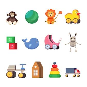 Ensemble de jouets pour enfants. illustrations plates colorées.