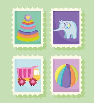 Ensemble de jouets pour enfants en timbres