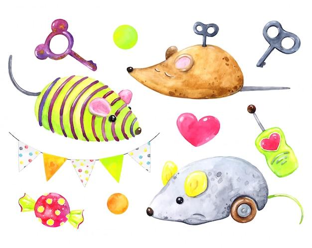 Ensemble de jouets pour souris chats, mouvement d'horlogerie, mécanismes, clés