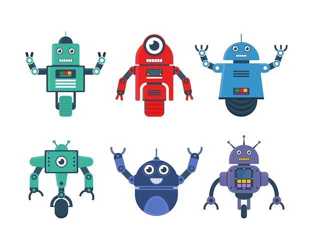 Ensemble de jouets de robot dans divers modèles de roue de robot