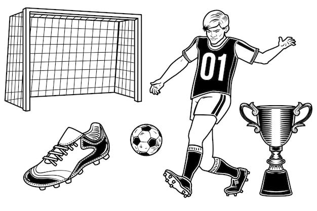Ensemble de joueur de football avec un ballon, une tasse, un but et une botte