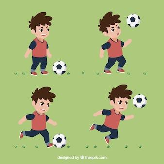 Ensemble de joueur de football de l'enfant